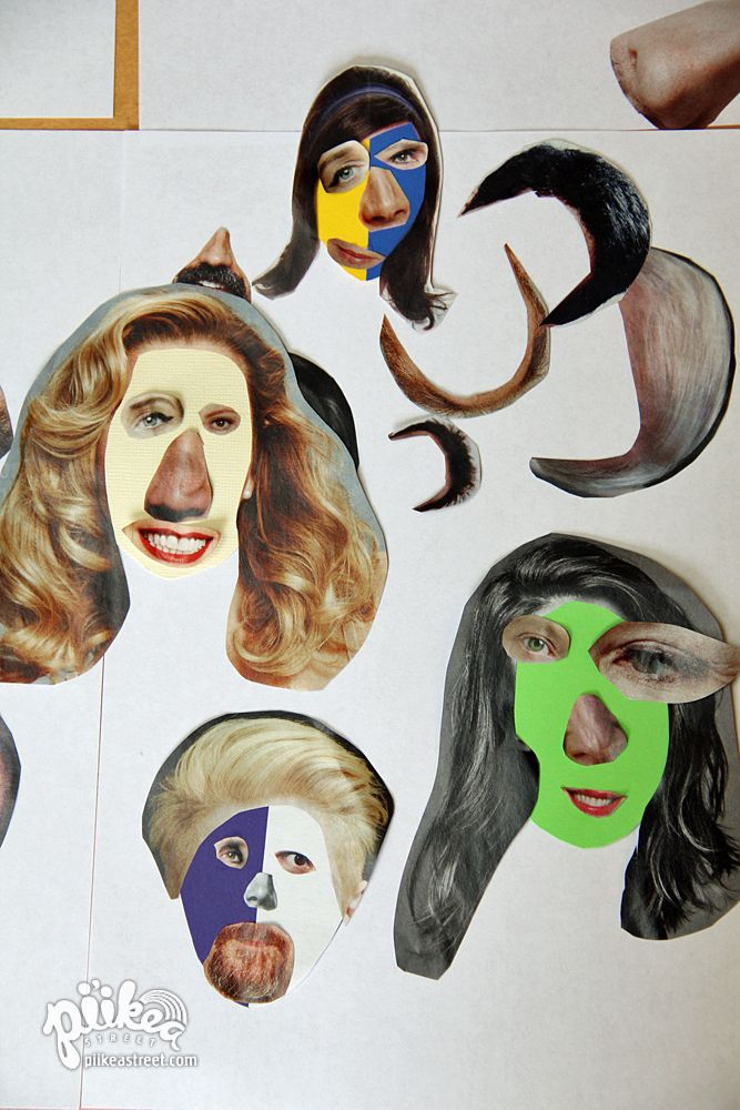 Mixed-up Faces using old magazines. An Original #kids #craft by www.piikeastreet.com #piikeastreet
