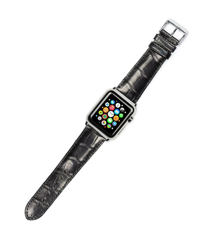 Debeer Replacement Watch Band - Genuine Alligator - [Long Length] - Black - Fits 42mm Apple Watch [Silver Adapters]. deBeer brand replacement watch strap for 42mm Apple Watch. Long Length. About 1 inch longer than stock strap. Genuine Alligator Leather. Great way to customize your Apple Watch for different occasions. Choose polished silver or polished black adapters.