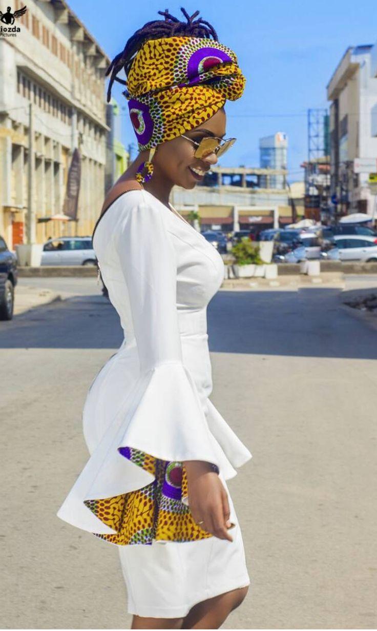african print flounce sleeve dress