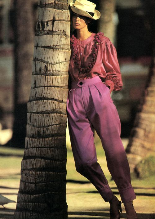 Hans Feurer for American Vogue, April 1985. Clothing by Yves Saint Laurent Rive Gauche.