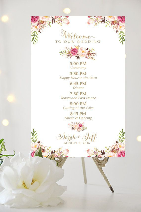 Order Of Events Timeline Of Events Personalized Vintage Etsy Wedding Day Timeline Wedding Agenda Wedding Reception Timeline