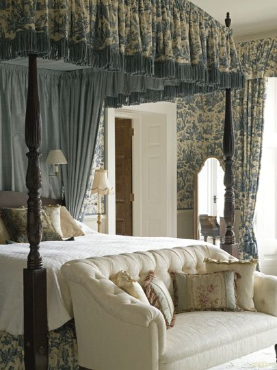 This reminds me SO much of the first canopy bed I designed, except I had full panels at the end of the bed......lovely!