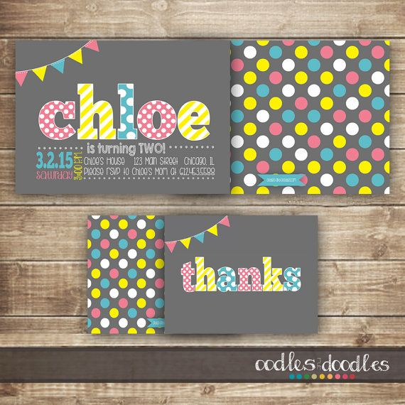 Pink,Turquoise + Yellow Girl's Birthday Invitation and Thank You Notes | Parties for Girls | Party Printables by Oodles and Doodles | OandD.etsy.com | Oodles and Doodles.com