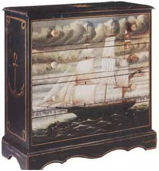 $900. Hand Painted Nautical Chest of Drawers