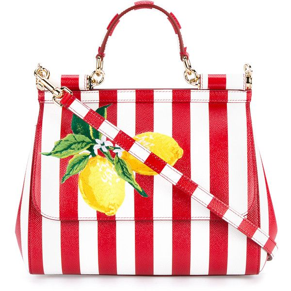 Dolce & Gabbana Medium Sicily Leather Handbag With Lemons found on Polyvore featuring bags, handbags, purses, white purse, white hand bags, handbags purses, genuine leather handbags and white leather handbags