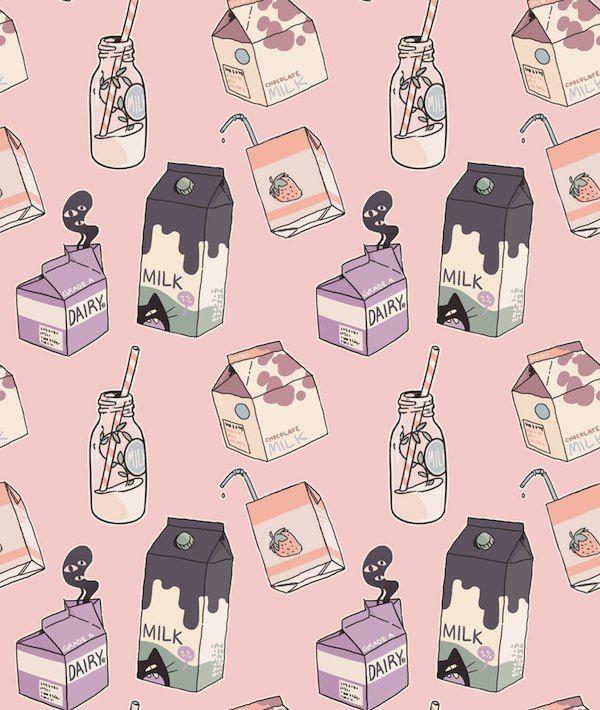 background, cute illustration, drinks, milk, art
