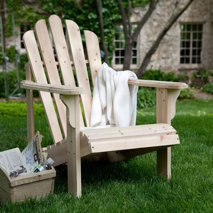 Unfinished Asian Fir Wood Adirondack Chair with Contoured Seat & Wide Armrests