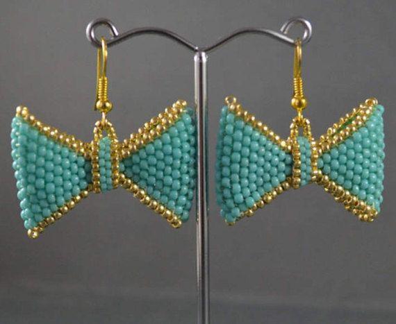 Bow earrings Sweet earrings Seed beads eariings Choice of the