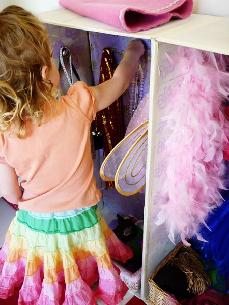 Easy DIY Dress Up Wardrobe from a cardboard box and cupboard door handles