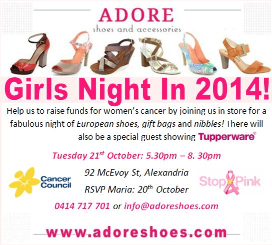 GIRLS NIGHT IN 2014! More than ever we hear of family and friends facing cancer and we want to help raise funds to prevent and treat it!