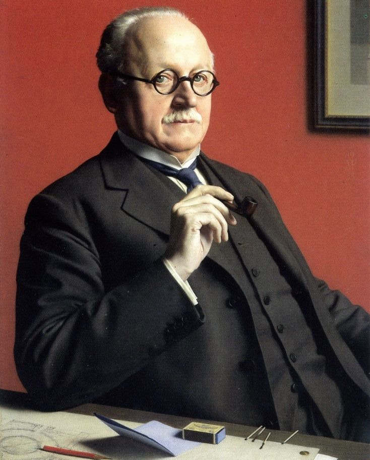 """Portrait by Meredith Frampton (1894-1984, British), Edwin Lutyens (1869 -1944) was a British architect known for imaginatively adapting traditional architectural styles to the requirements of his era. He designed many English country houses, war memorials and public buildings. The architectural historian Gavin Stamp described him as """"surely the greatest British architect of the twentieth (or of any other) century."""""""