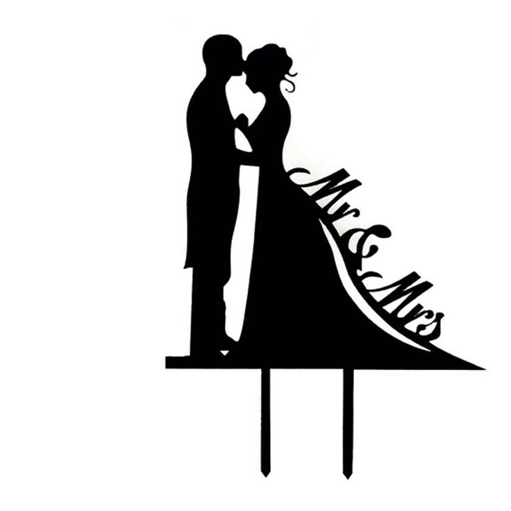 MR & Mrs with Bride and Groom Style Cake Topper for Wedding / Anniversary / Birthday Party (Black)(China (Mainland))