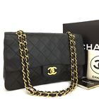 CHANEL Double Flap 25 Quilted CC Logo Lambskin w/Chain Shoulder Bag Black/b61