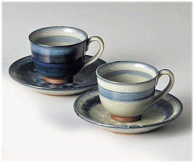 Seto Yaki, Coffe Cups & Saucers , Pair Set 'Shuhou'