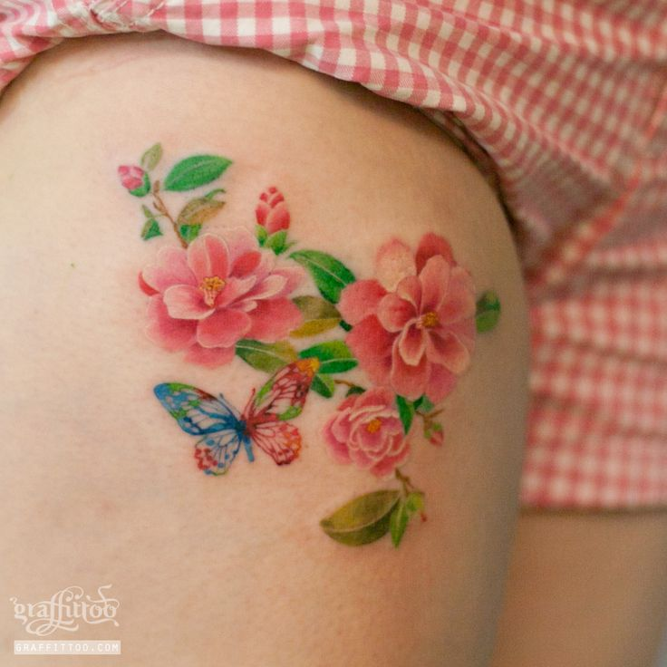 Watercolor camellias Tattoos by tatuyiseuteu River.  Watercolor tattoos.  Camellias.  Tattoo.  Two calligraphy