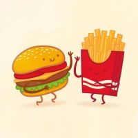 "Philip Tseng did a whole series of food pairs he called ""Taste Buds""; I couldn't possibly pick a favorite... but who doesn't love a burger & fries, eh?"