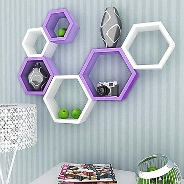 DecorNation Hexagon Shape Wall Shelf Set of 6 Purple & White