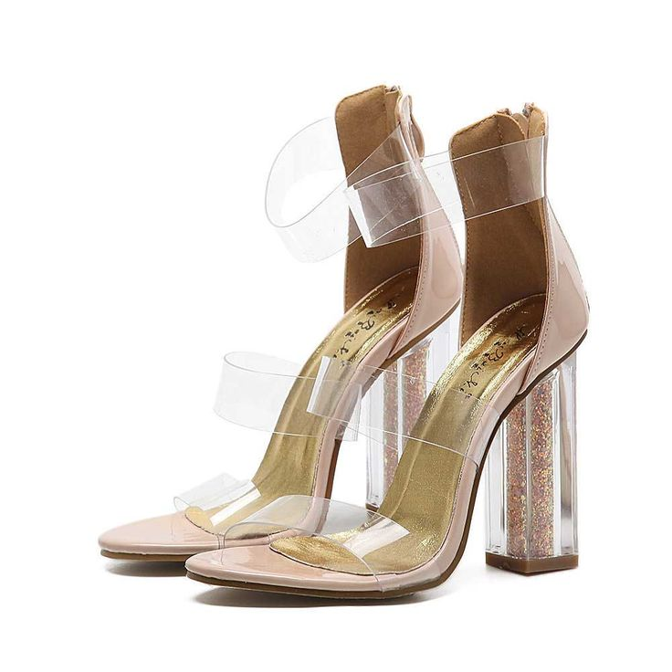 Nude Transparent Open Toe High Chunky Heels Cheap Sandals For Women.