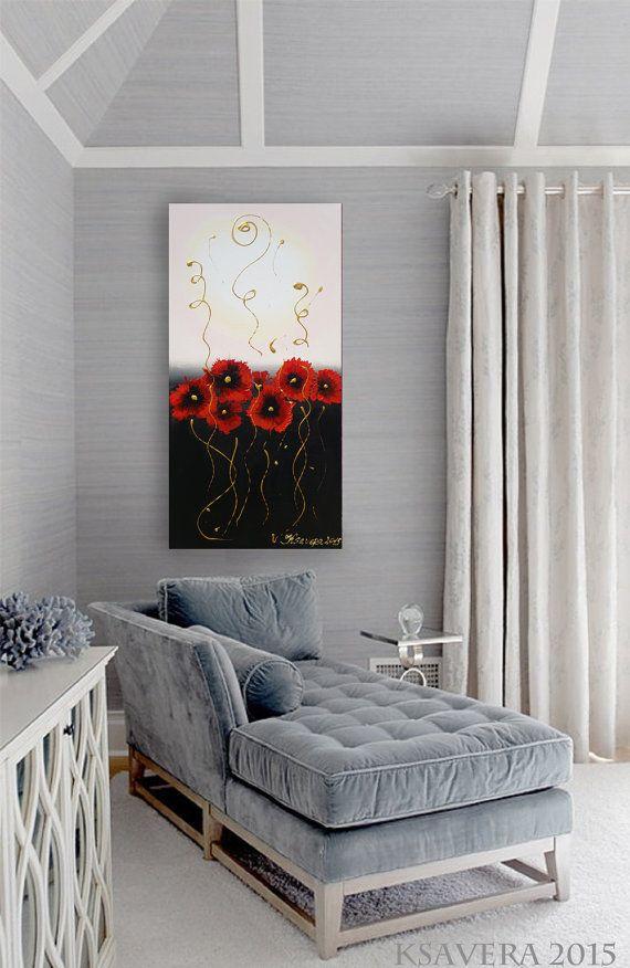 Mohnblumen acrylbilder Mohn Malerei Blumen Gemälde von KsaveraART