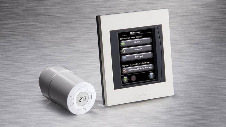 Thermostat radiateur design noir chromé digital chauffage