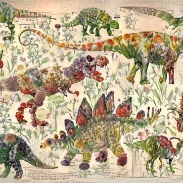 A Neural Network Generates Surprisingly Elegant Images of Dinosaurs Composed of Plants  Chris Rodley