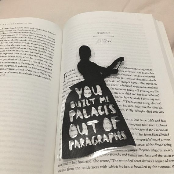 A bookmark that expresses Hamilton's power of the pen and Eliza's rightful heartbreak.