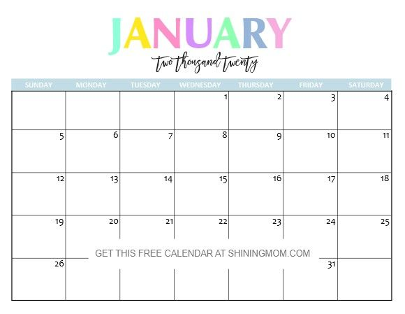 Printable January Calendars 2020 Free Printable Calendar Monthly