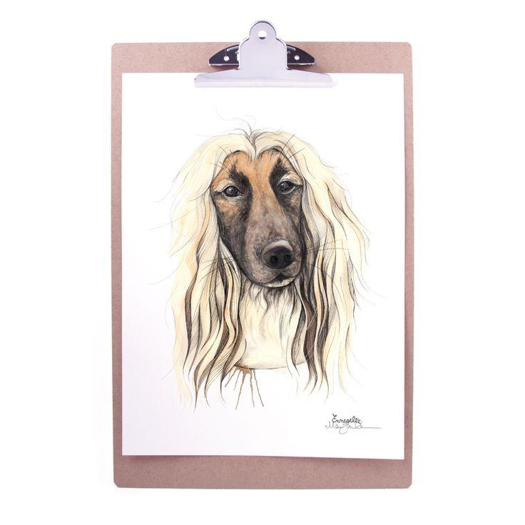 """""""Afgansk mynde"""" (Afghan hound) Copyright: Emmeselle.no Illustration by Mona Stenseth Larsen"""