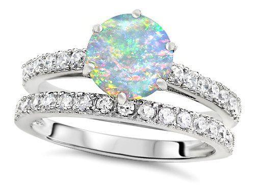 Superb Original Star K(tm) Round 7mm Created Opal Engagement Wedding Ring: Star K