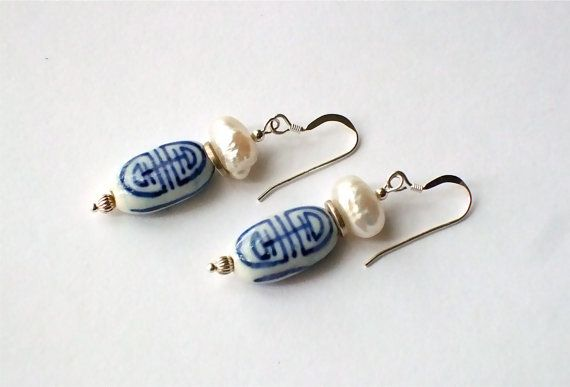 White+Porcelain+Blue+Chinese+Symbol+Freshwater+by+westlakebeads,+$22.00