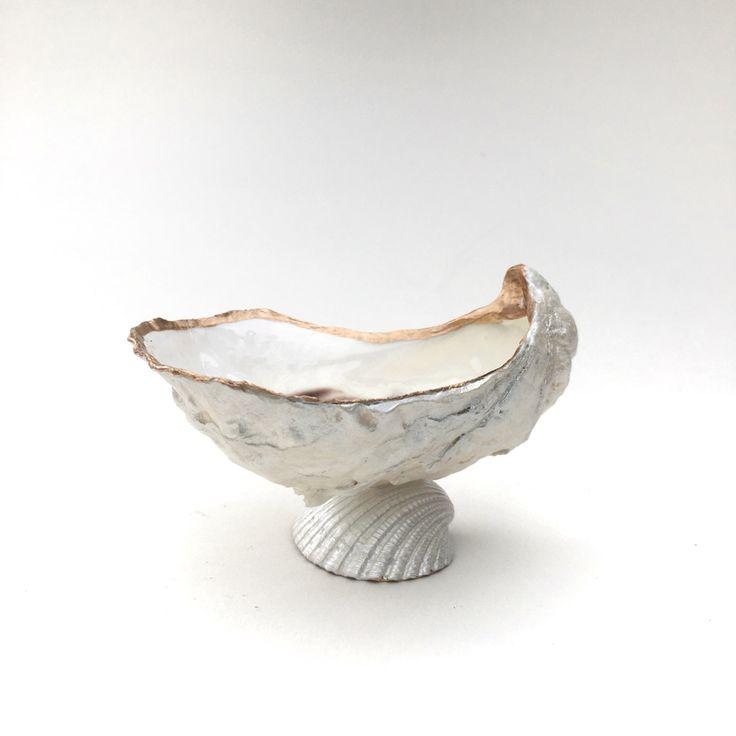 Oyster Shell Dish, Oyster Jewelry Dish, Shell Jewelry Dish, Beach Bathroom, Seashell Ring Holder, Coastal Decor, Nautical Decor by CoastalCornucopia on Etsy https://www.etsy.com/listing/502170817/oyster-shell-dish-oyster-jewelry-dish