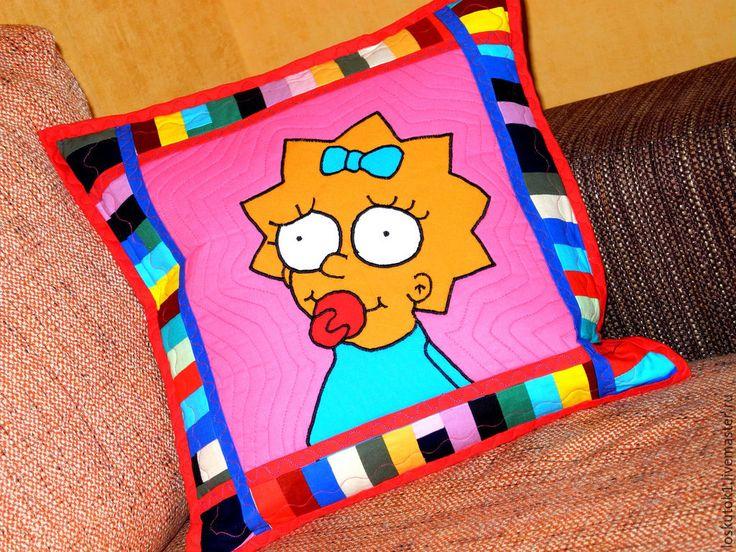 Купить детская подушка пэчворк МЭГГИ СИМПСОН лоскутная подушка - детская подушка, детские подушки