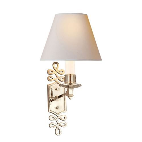 Visual Comfort AH2010PN-NP Alexa Hampton 1 Light Ginger Single Arm Sconce in Polished Nickel with Natural Paper Shade