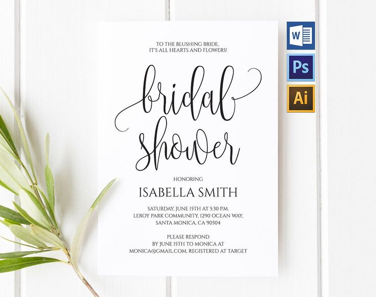 """Ad: Purchase this listing to download your high-resolution """"bridal shower invitation"""" instantly after your payment is complete!AVAILABLE IN 3 FORMATS: Microsoft Word, Adobe Photoshop and Adobe Illustrator."""