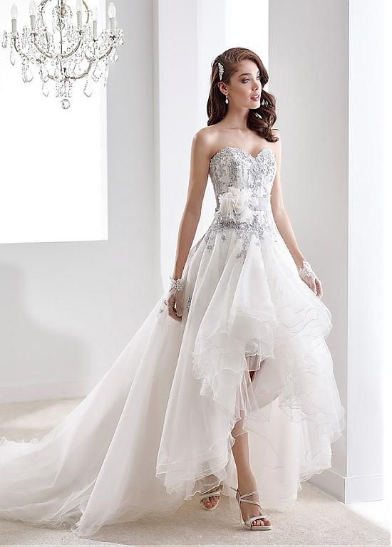 Elegant Tulle Sweetheart Neckline Hi-lo A-line Wedding Dresses With Lace Appliques