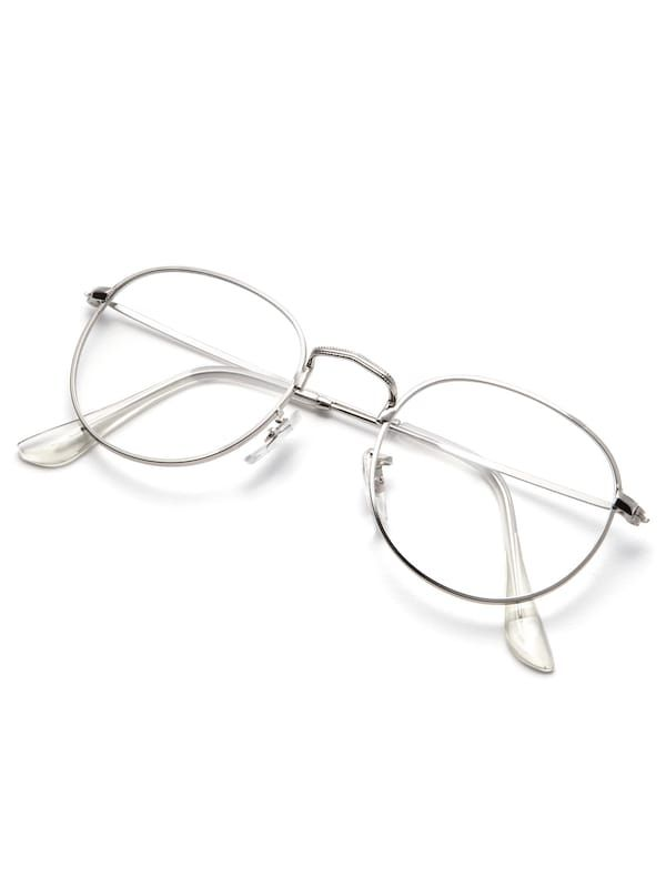 SheIn offers Silver Frame Clear Lens Glasses & more to fit your fashionable needs. Glasses Frames Trendy, Fake Glasses, Lunette Style, Fashion Eye Glasses, Glasses Online, Eyeglasses For Women, Womens Glasses, Eyewear, Design