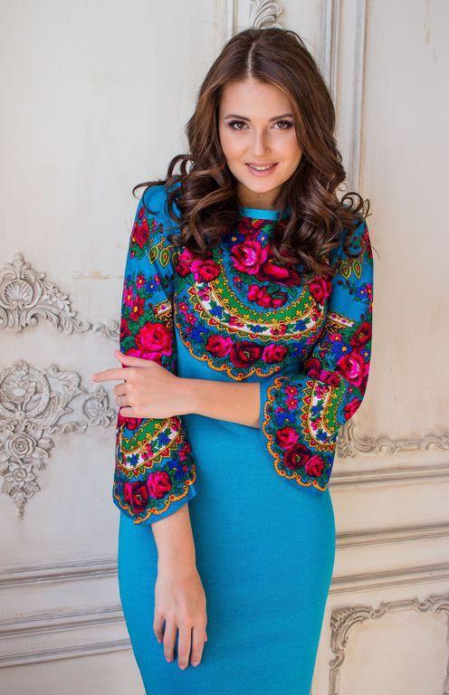 Élégante robe « Champ russe » dans le style russe, combiné avec un foulard, étoffes de bonneterie