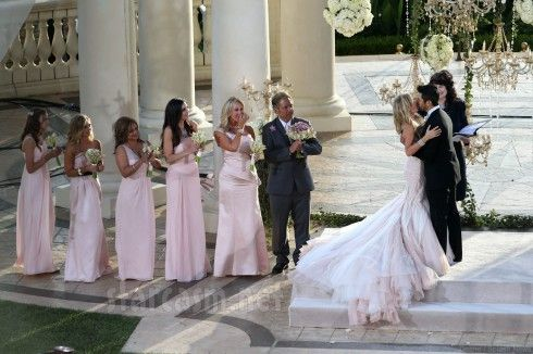 Love the color of these blush bridesmaid dresses, this is my favorite color scheme- this is stunning!  The Kiss!!!