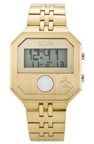 Original Penguin Cary Gold Plated Stainless Steel Digital Watch
