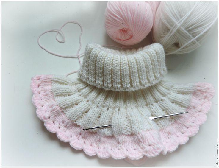 Манишка для малышки - разноцветный, однотонный, белый, розовый, манишка, манишка вязаная, манишка детская