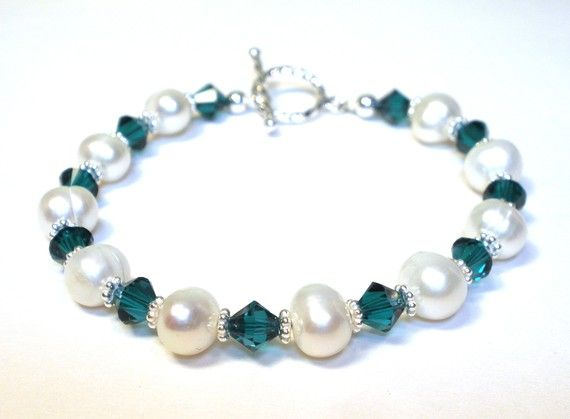 Freshwater Pearl and Green Crystal Birthstone Bracelet on Etsy, $32.00