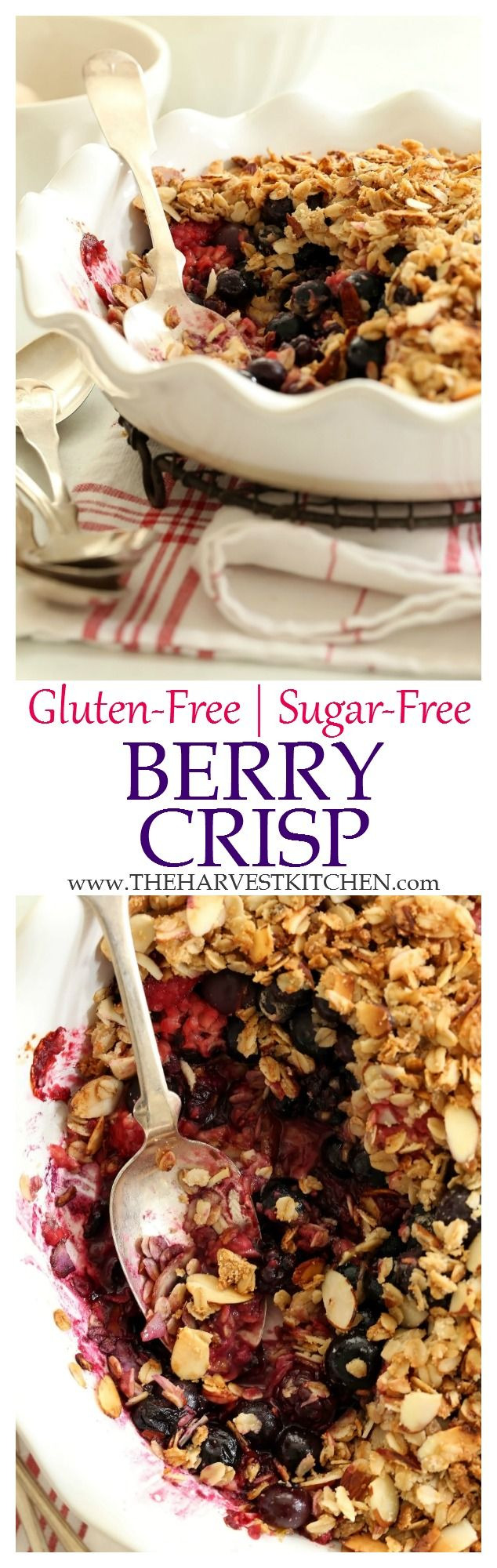 This Gluten Free Berry Crisp is made with a mix of blueberries, raspberries and blackberries. The sweetness comes from the delicate crisp topping, which is sweetened only with pure maple syrup. This healthy berry crisp makes a perfect summer dessert! | clean eating | | healthy dessert recipes | | fruit dessert recipes | | healthy recipes |