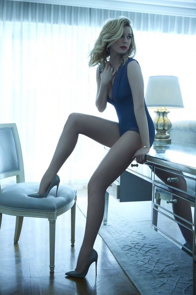 dailyactress:Emily VanCamp – Sharp Magazine Photoshoot 2016 Emily VanCamp sexy long legs in a blue one piece and nude pumps