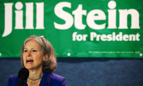US Green party presidential candidate Jill Stein has called Barack Obama a 'climate denier'. Photograph: Paul J. Richards/AFP/Getty Images