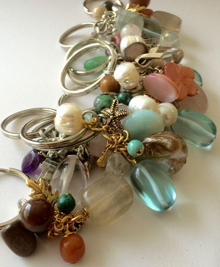 Gemstone charm keychain gifts.  #JuliaBristow #jewelry #handcrafted #artisan www.juliabristowjewelry.com
