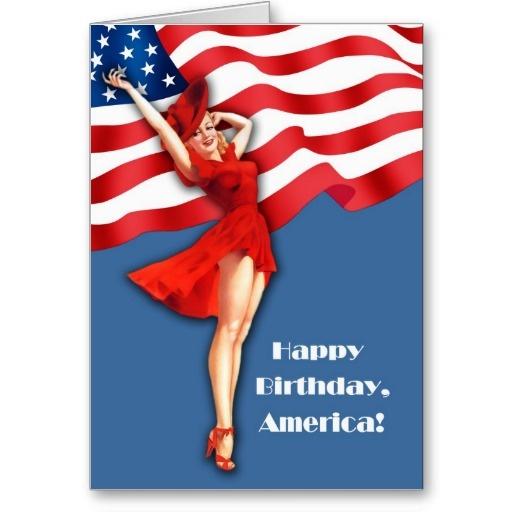 Albert Vargas (1896-1982) Happy Fourth of July. Vintage Pin-up