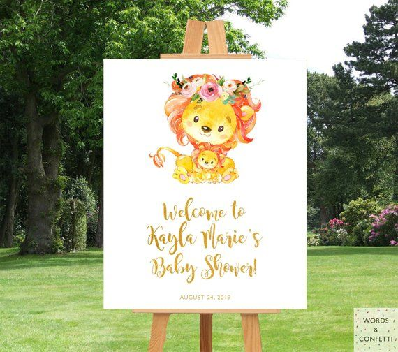 Lion Baby Shower Decorations, Jungle Baby Shower Sign, Safari Baby Shower Welcome Sign, Safari Anima