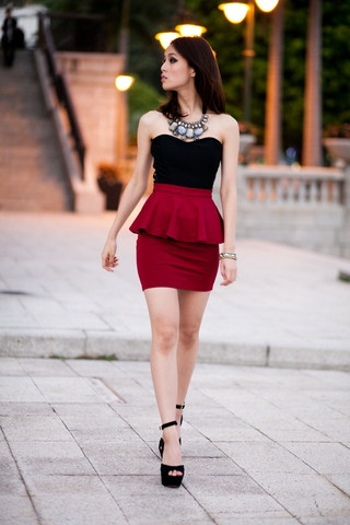 Peplum Frill High Waisted Skirt
