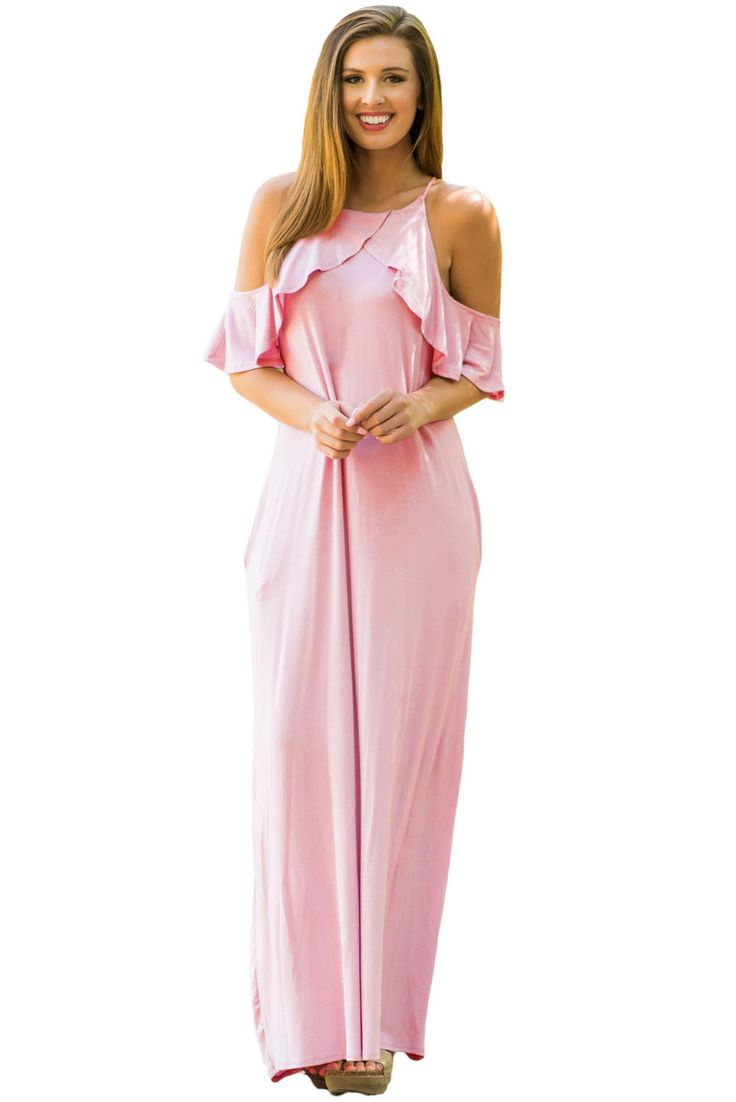 Chicloth Dusty Pink Ruffle Sleeve Cold Shoulder Maxi Dress