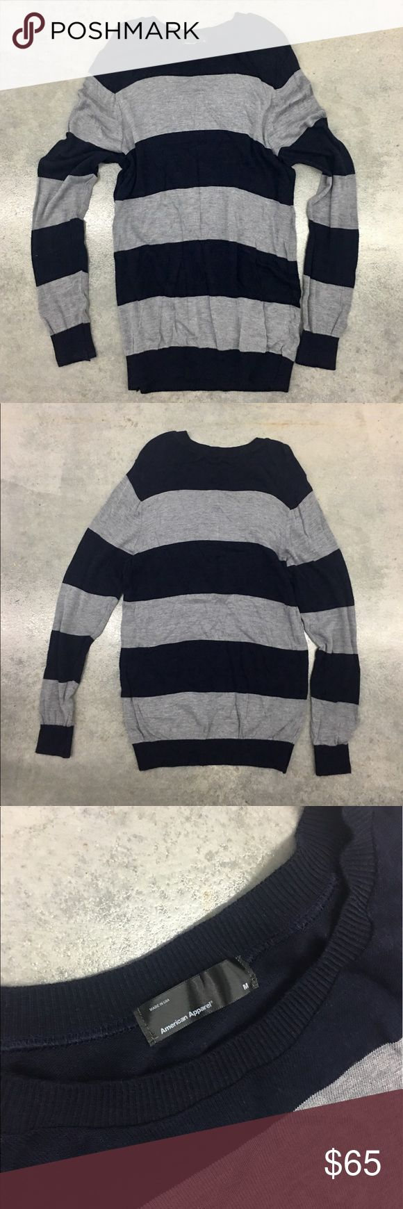 AA American apparel Stripe Tunic sweater dress top ✨(❁´◡`❁) ωḙℓḉ✺Պḙ (❁´◡`❁)✨     🦋Description:    •Super soft gray/ navy striped fabric   •Long sleeve/ Crew neckline  •Tunic / mini dress length      Would be so cute for the fall/winter months worn with leggings and boots! Omg! Love ❤️      ✨     🦋 Brand: AA American Apparel (All Stores are closed now)    ✨    🦋Size: M    ✨    🦋Condition: Excellent Preowned shape. No holes or snags.      ✨   (please refer to all photos Don't hesitate to…